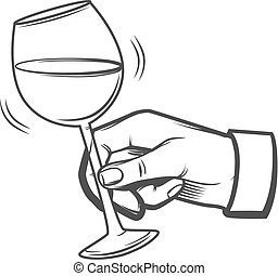 wineglass hand hold - hand with a wineglass, sommelier...