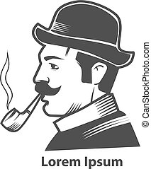 pipe club men - man with pipe, logo for pipe club