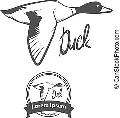duck fly logo - flying duck, for logo, hunting concept,...
