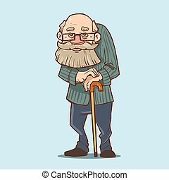 old man cartoon - old man with cane, cartoon character,...