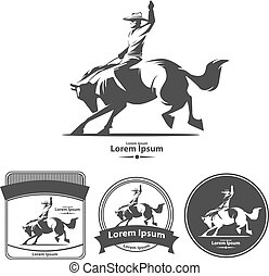 rodeo wild west - cowboy at rodeo, vintage emblems, logo,...