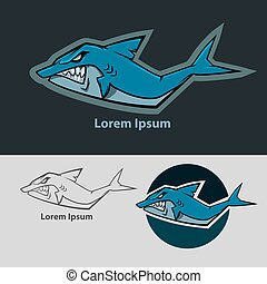 shark logo color - shark mascot, sport team logo, for club...