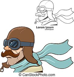 pilot profile cartoon - man with aviator helmet, image for...