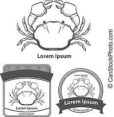 crab sea food - crab, vintage sea food idea concept, for...
