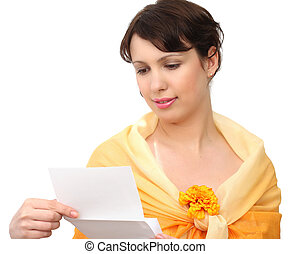 beautiful woman with letter