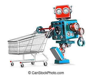 Retro robot with shopping cart. Isolated. Contains clipping...