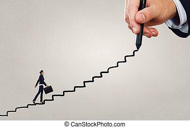 Climbing up the career ladder - Businesswoman climbing up on...