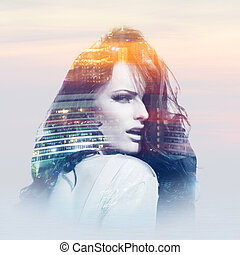 Young woman with metropolis - Double exposure of young woman...