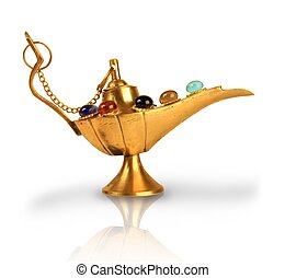 Aladdins magic lamp with pearls isolated on white
