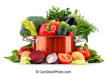 Pot and raw vegetables isolated on white.
