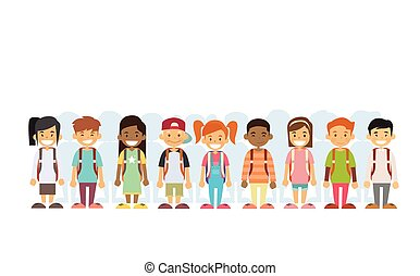 Children Group Mix Race Standing In Line Flat