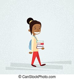 Small School Girl Carry Stack Of Books