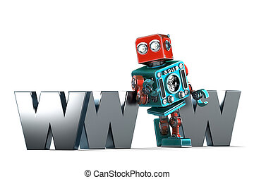 Retro Robot with WWW sign. Technology concept. Isolated....