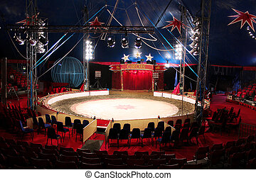Circus Arena Inside Big Top Tent - Inside a touring circus...