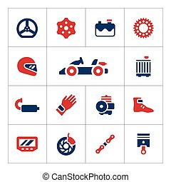 Set color icons of karting isolated on white Vector...