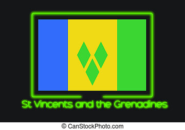 Flag Illustration With a Neon Outline of Saint Vincents and...