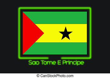 Flag Illustration With a Neon Outline of Sao Tome E Principe...