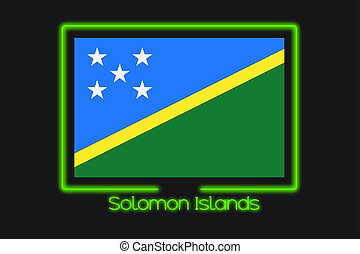 Flag Illustration With a Neon Outline of Solomon Islands - A...