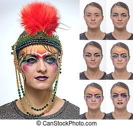 Woman with bright creative makeup in Art Deco style step by...