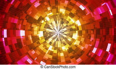 Twinkling Hi-Tech Grunge Flame Tunnel, Multi Color, Abstract, Loopable, HD