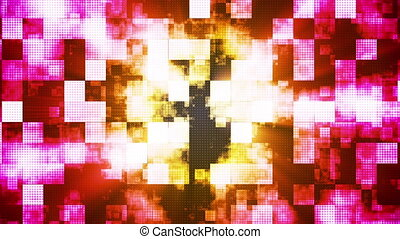 Twinkling Metal Hi-Tech Squared Smoke Patterns, Multi Color, Abstract, Loop, HD