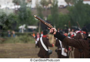 Gun shooting at Re-enactment of Albuera battle between...