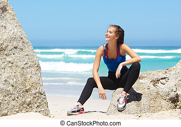 young exercise woman relaxing