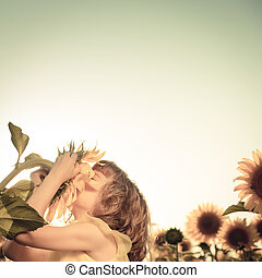 Child in spring field