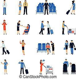 Pilot And Stewardess Flat Icons Set - Pilot and stewardess...