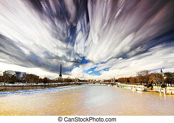 Seine art - Composite timelapse art of the river Seine and...