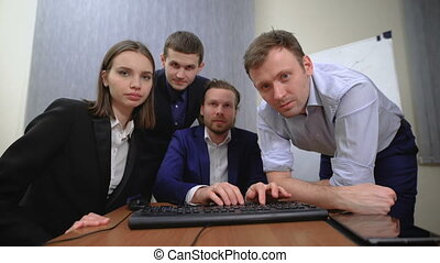 The team of young businesspeople They work together with the...
