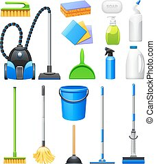 Cleaning Equipment Kit Flat Icons Set - Cleaning equipment...