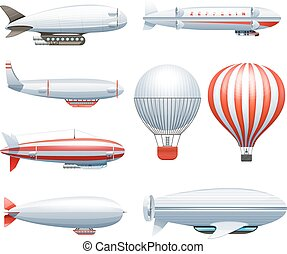 Dirigible Airship White Red Icons Set - Dirigible and hot...