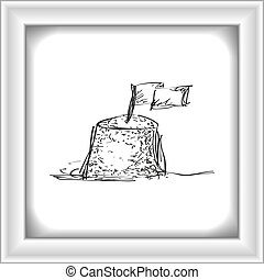 Simple doodle of a sand castle - Simple hand drawn doodle of...