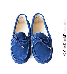 Blue suede loafers isolated on white background