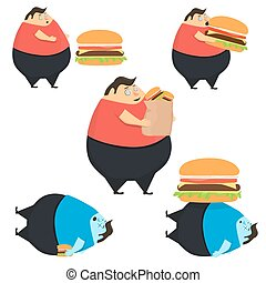 Set of fat people eat burger - Set of fat people in state of...