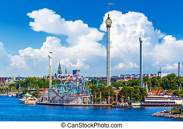 Amusement park Grona Lund on Djurgarden island in Stockholm,...