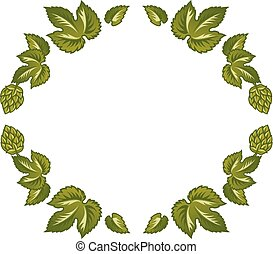 Decorative frame of green leaves and hop cones. - Vector...