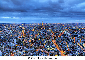 Blue hour Paris - The Eiffel tower at night seen from the...