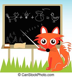 Fox and his plan - Vector illustration of a fox showing a...