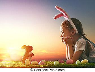 girl wearing bunny ears - Cute little child girl wearing...