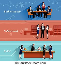 Business lunch flat banners set - Business lunch coffee...