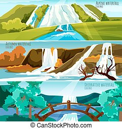 Waterfall Landscapes Banners - Horizontal banners collection...
