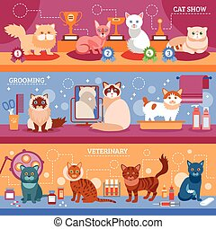 Cats banner set - Cats banner horizontal set with flat...