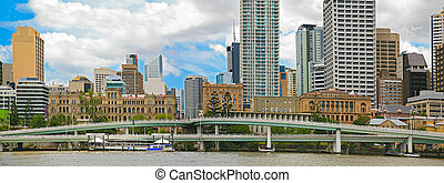 Brisbane City, Panorama - Brisbane city, north bank of...