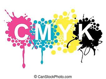 CMYK print colors splashes