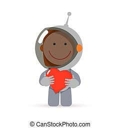 Valentine spaceman character - Cute flat style astronaut...