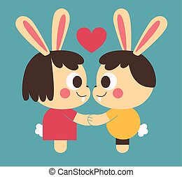 Bunny Couple Holding Hands