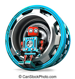 Robot with gear. Isolated. Contains clipping path