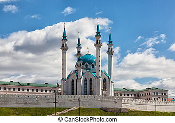 View of the ancient Kremlin in the sunny summer day , Kazan